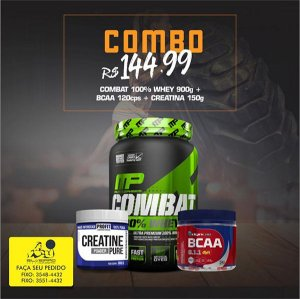 COMBO: 100% Whey Combat 900g + Bcaa Dyn 120cps + Creatine Pure 150g