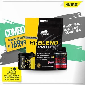 COMBO: Hi-Blend Protein 1800g + Creatine 150g + Bcaa 2400 60cps