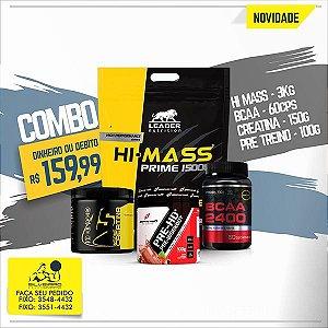 COMBO: Hi-Mass Prime 1500 3kg + Creatine 150g + Bcaa 2400 60cps + Pré Treino 100g