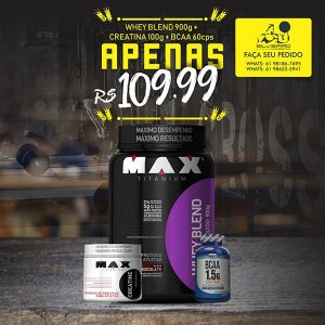 COMBO: Whey Blend 900g + Bcaa 1.5g 60cps + Creatina 100g - Maxtitanium