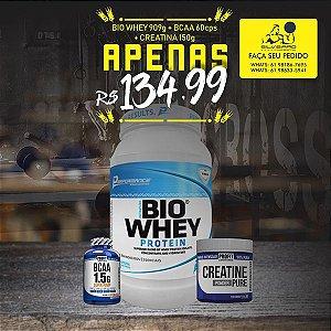 COMBO: Bio Whey 909g + Bcaa 1.5g 60cps + Creatine 150g