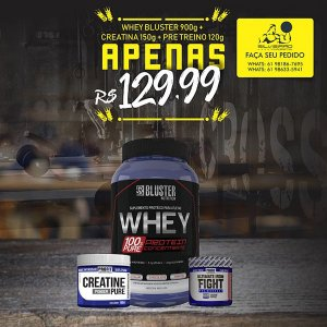 COMBO: Whey 100% Pure 900g + Creatine Pure 150g + Bcaa 1.5g 60cps - Bluster Nutrition