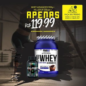 COMBO: Whey Pro Advanced 907g + Cafeina 120cps - Profit Laboratorios