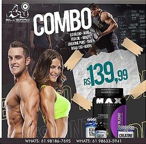 COMBO: Whey Blend 900g + Bcaa 1.5g 60cps + Creatina 100g + Ômega 3 100cps - Maxtitanium