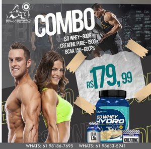 COMBO: Iso Whey Hydro Dyn 900g + Bcaa 1.5g 60cps + Creatine 150g - Dynamic Lab