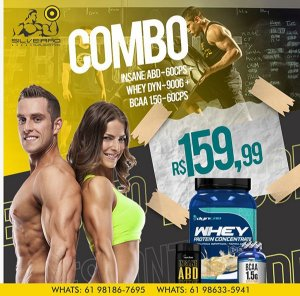 COMBO: Whey Dyn 900g + Bcaa 1.5g 60cps + Insane ABD 60cps (termogenico) - Dynamic Lab