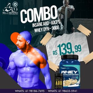 COMBO: Whey Dyn 900g + Insane ABD 60cps (termogenico) - Dynamic Lab