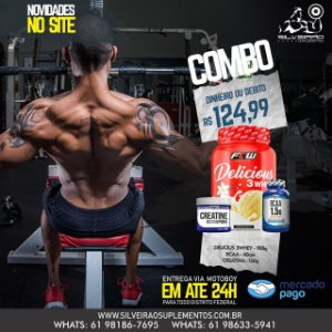 COMBO: Delicius 3Whey 900g + Bcaa 1.5g 60cps + Creatine 150g - Ftw Nutrition
