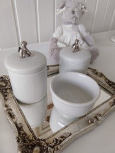 Kit Higiene Porcelana Anjo Prata - 3 Peças