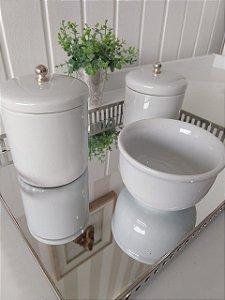 Kit Higiene Porcelana Pitão Prata - 3 Peças