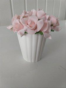 Vaso com Rosas - Branco
