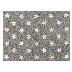 Tapete Estrelas Tricolor Cinza Rosa 1,20x1,60 - Lorena Canals