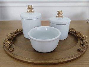 Ki Higiene Porcelana Urso Dourado - 3 Peças