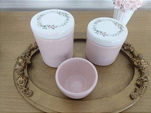 Kit Higiene Porcelana Rosa e Floral - 3 Peças