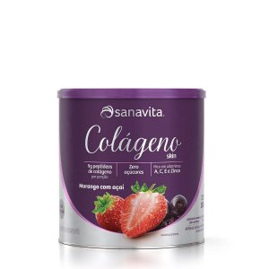 Colágeno Hidrolisado Skin Morango com Açaí Sanavita 300g