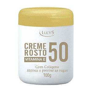 Creme Facial Rosto 50 Anos Anti Rugas com Colágeno e Vitamina E Lucys 100g