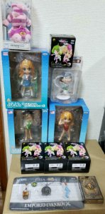 Set 11 pecas Evangelion, One Piece, Alice in Wonderland, Macross Frontier