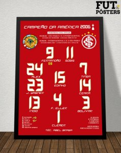 Pôster Internacional Campeão da Libertadores 2006 - 29,7 x 42 cm (A3)