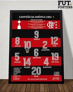 Pôster Flamengo Campeão da Libertadores 1981 - 29,7 x 42 cm (A3)