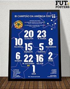 Pôster Cruzeiro Bi Campeão da Libertadores 1997 - 29,7 x 42 cm (A3)
