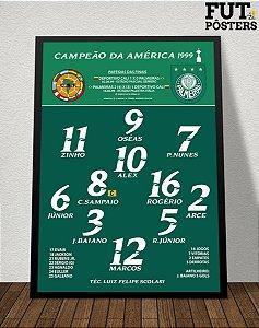Pôster Palmeiras Campeão da Libertadores 1999 - 29,7 x 42 cm (A3)