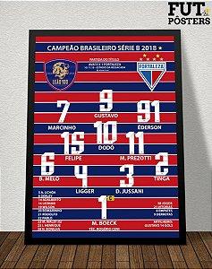 Pôster Fortaleza Campeão Brasileiro Série B 2018 - 29,7 x 42 cm (A3)