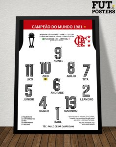 Pôster Flamengo Campeão do Mundo 1981 - 29,7 x 42 cm (A3)