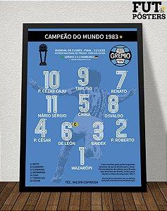 Pôster Grêmio Campeão do Mundo 1983 - 29,7 x 42 cm (A3)