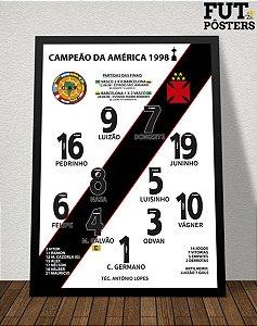 Pôster Vasco Campeão da Libertadores 1998 - 29,7 x 42 cm (A3)
