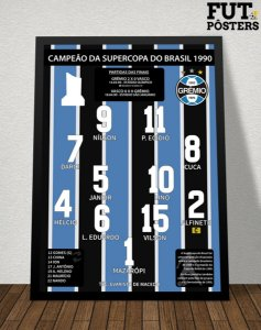 Pôster Grêmio Campeão da Supercopa do Brasil 1990 - 29,7 x 42 cm (A3)