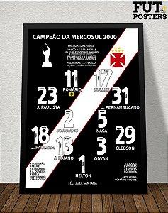 Pôster Vasco Campeão da Copa Mercosul 2000 - 29,7 x 42 cm (A3)