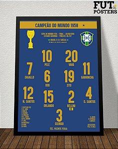 Pôster Brasil Penta Campeão do Mundo 58/62/70/94/02 - 29,7 x 42 cm (A3)