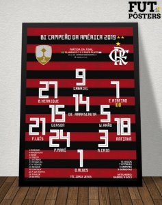 Pôster Flamengo Bi Campeão da Libertadores 2019 - 29,7 x 42 cm (A3)