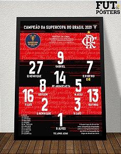 Pôster Flamengo Campeão da Supercopa 2020 - 29,7 x 42 cm (A3)
