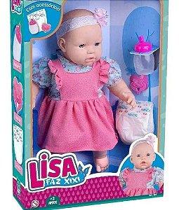 Boneca Lisa 40cm - Faz Xixi de Verdade C/ Acess. - Supertoys