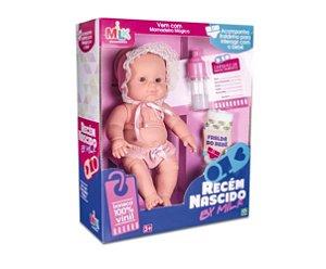Boneca Bebê Vinil Recém Nascido - C/ Mamadeira Mágica - Milk