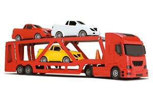 Caminhão Cegonheira Pollux + 3 Carrinhos a Fricção - Silmar