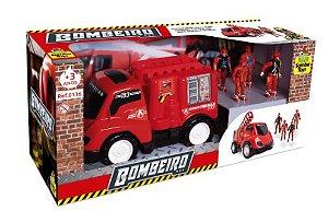 Caminhão Bombeiro Base Móvel + 02 Homens Bombeiro - Samba