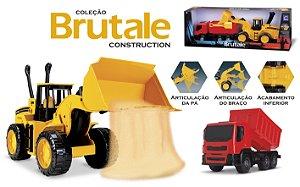 Coleção Brutale Construction - Trator Carregadeira + Caminhão - Roma Brinquedos
