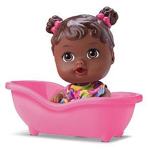 Boneca Bebê Little Dolls Banheirinha - Negra - Divertoys