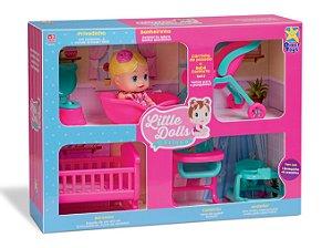 Little Dolls Casinha - 1 Boneca + 6 acessórios - Divertoys