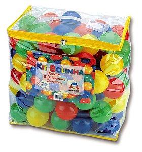 100 Bolinhas P/ Piscina ou Toca - C/ Bolsa - Bolinha Colorida - 70mm - Braskit