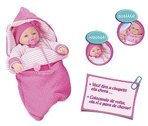 Boneca Dorme Bebê - C/ Saco de Dormir - Chora e Ri -  Roma Brinquedos