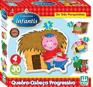 Quebra Cabeça Progressivo em Madeira - 30 peças - Os Três Porquinhos - NIG