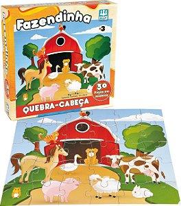 Quebra Cabeça em Madeira - 30 peças - Fazendinha - NIG