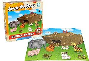 Quebra Cabeça em Madeira - 60 peças - Arca de Noé - NIG