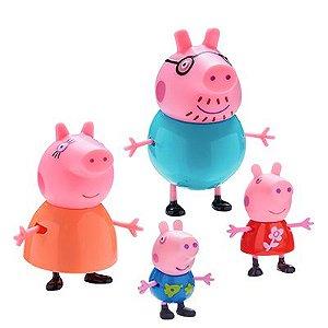Conjunto de Figuras - 4 Personagens - Peppa Pig - Família Pig - DTC