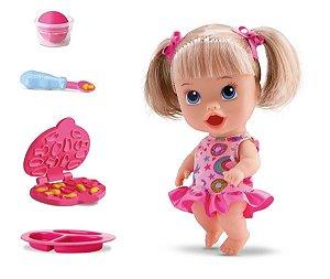 Boneca Little Dolls Come Come e Faz Caquinha - Loira C/ Cabelo - Divertoys