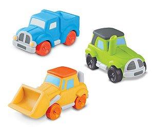 Coleção 3 Baby Máquinas: Carregadeira, Caminhão e Trator - Roma