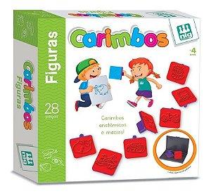 Jogo Carimbos Figuras Animais - 28 Peças - Pedagógico - Nig